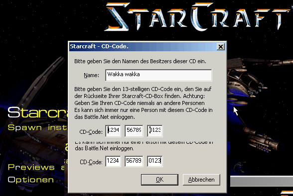 Core 1091 Starcraft Each Field In The Cdkey Dialog Is