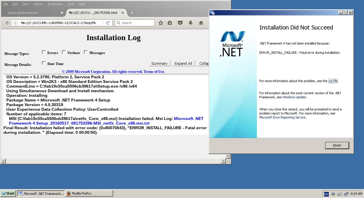CORE-11266] .NET Framework 4.0 can\'t install - ReactOS JIRA